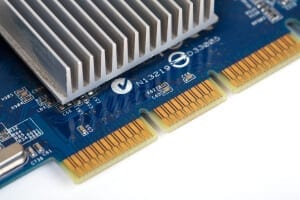 Video card close up on isolated white background